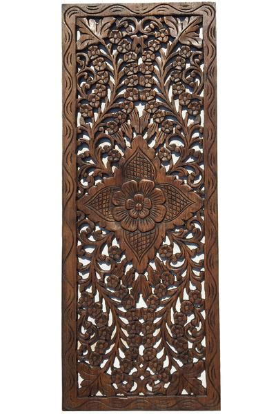 floral wood carved wall panel wall hanging decorative thai wall reli asiana home decor