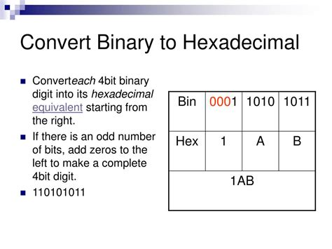 converter hexadecimal to decimal ppt binary conversions powerpoint presentation id 376444