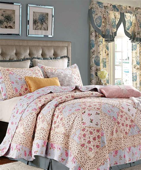 rose garden full queen quilt set country cottage blue