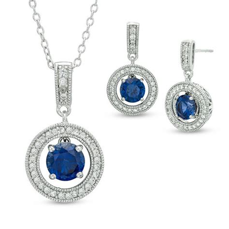 jrhz148 antique style silver brooch necklace blue white lab created blue and white sapphire vintage style pendant and earrings set in sterling silver