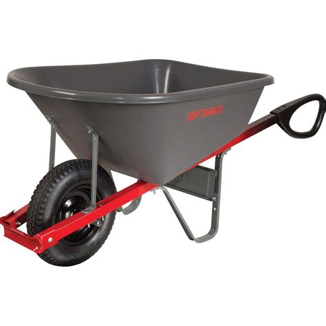 true temper 6 cu ft poly wheelbarrow with total