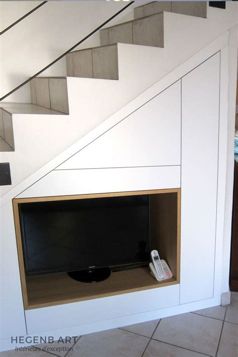 Meuble Dessous Escalier by Meuble Tv Encastr 233 Sous Escalier Hegenbart