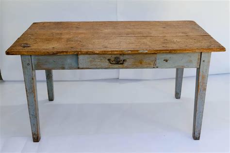 Diy Writing Desk Rustic Painted Farm Table Or Writing Desk With Drawer At 1stdibs