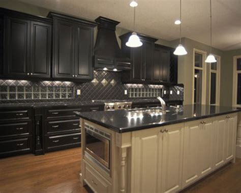Kitchen Black Cabinets Kitchen Kitchen Color Ideas With Oak Cabinets And Black Appliances Fireplace Midcentury