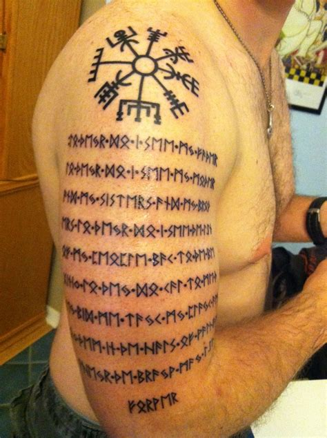 tattoo with ashes runic prayer and compass with my dads ashes mixed into the