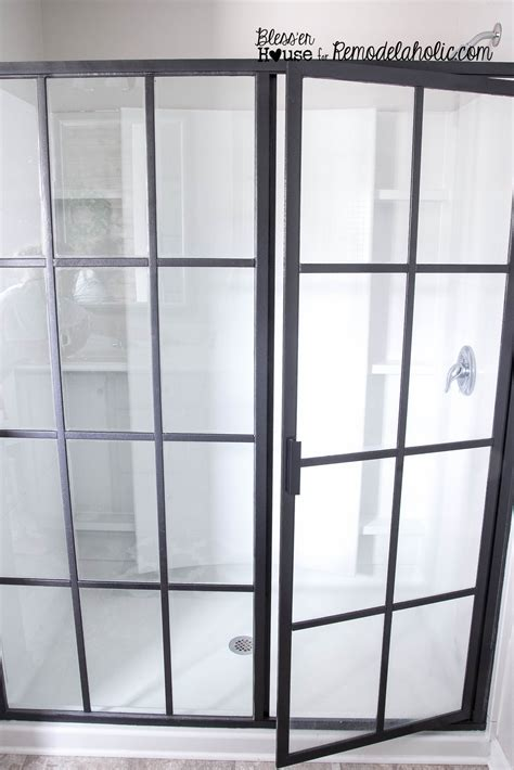 Remodelaholic   DIY Industrial Factory Window Shower Door