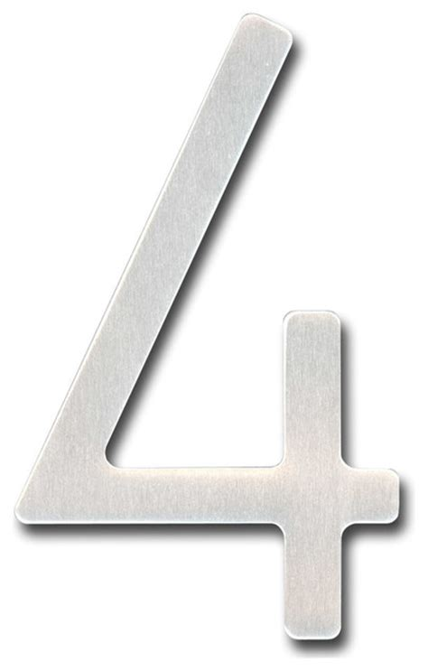 Spanish Vanity 5 Inch Houseart Font Number 4 Raw Stainless
