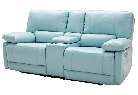 Light Blue Leather Recliner Kuka Light Blue Reclining Console Loveseat Leather Match