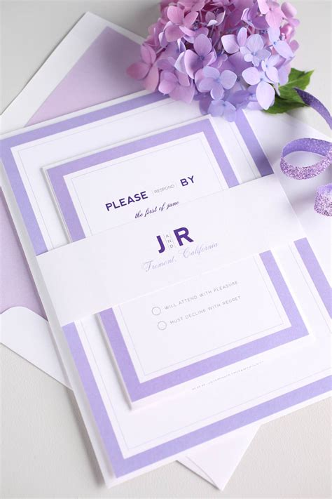 Purple Wedding Invitation Paper by Modern Wedding Invitations In Purple Wedding Invitations