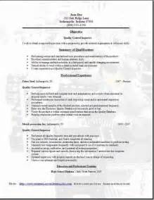 Quality Inspector Resume by Quality Resume Occupational Exles Sles Free Edit With Word