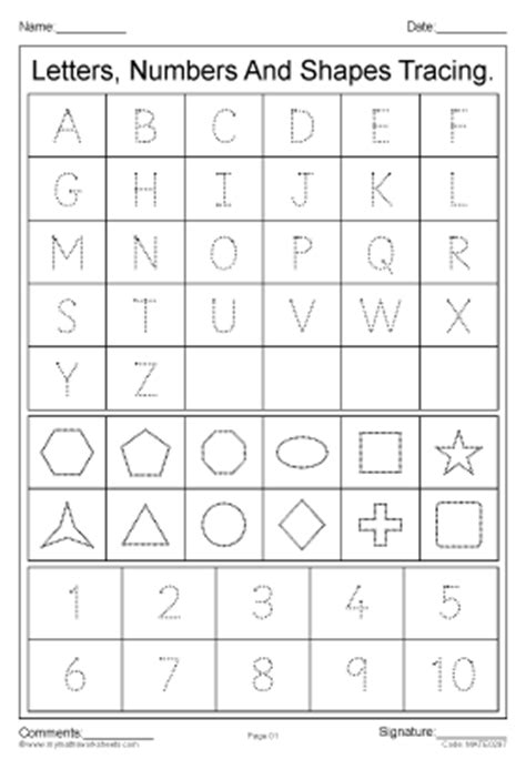 printable letters numbers and shapes mymathsworksheets com