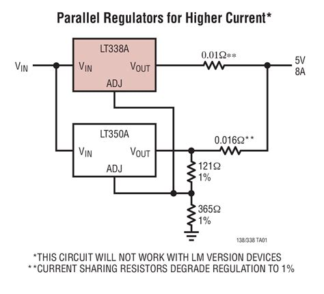 lm7812 protection diode lt338a 5a positive adjustable voltage regulator linear technology