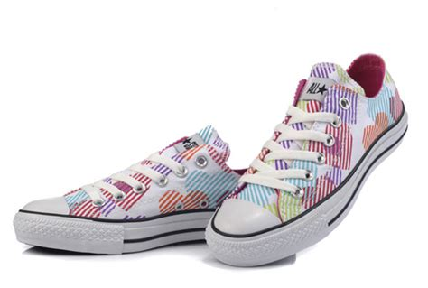 colorful converse converse for hearts colorful print white canvas low