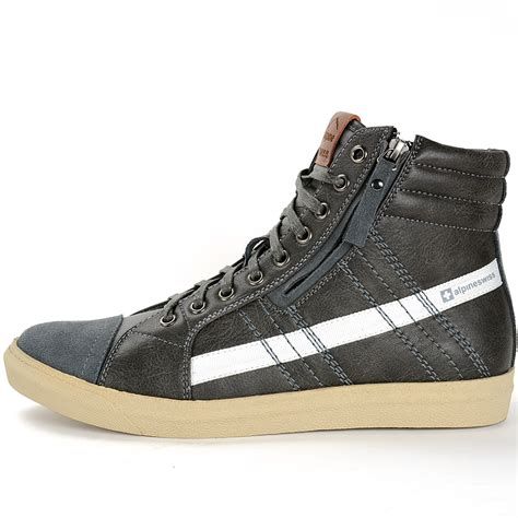 ankle sneakers alpine swiss reto mens high top sneakers lace up zip