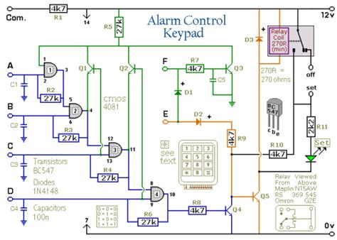 4 digit alarm keypad electronic circuit diagrams