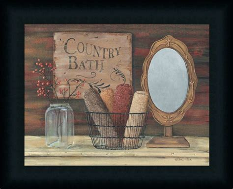 framed floral country home primitive decor country bath by pam primitive rustic room framed art print