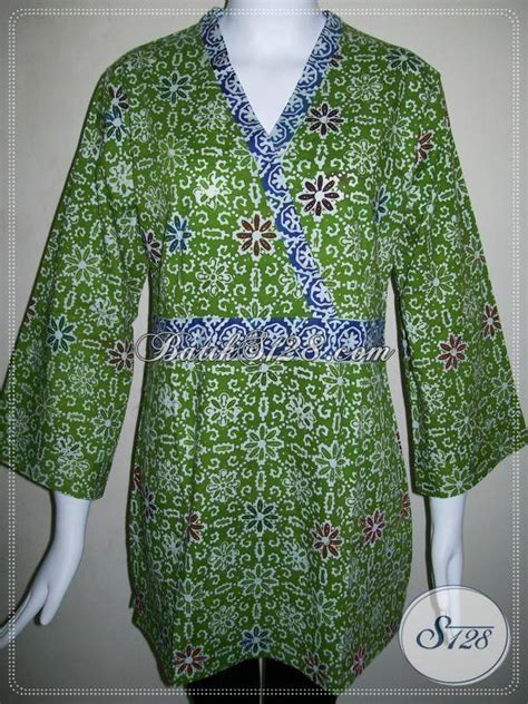 Kimono Santai Wanita Dan Pria batik wanita model kimono warna dominan hijau baju batik modern 2018 pria dan wanita