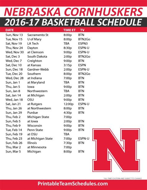 Unl Mba 2017 Class Schedule by 14 Best Images About Big 10 Basketball Schedule 2016 2017