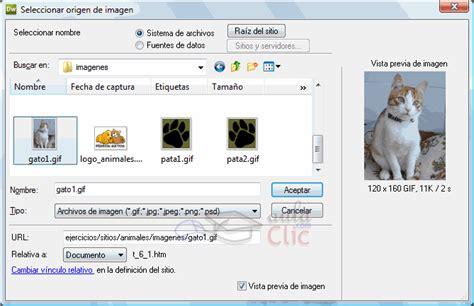 insertar imágenes html de fireworks curso gratis de dreamweaver cs5 aulaclic 6 im 225 genes