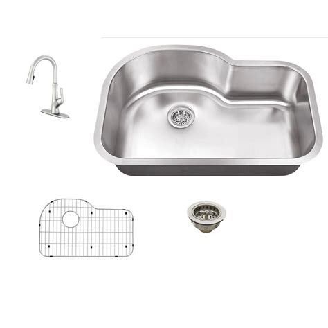 undermount kitchen sink with faucet holes schon all in one undermount stainless steel 30 in 0