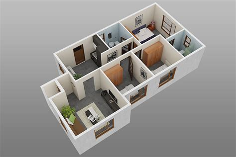 3 room 3d house plan 3 bedroom 2 bathroom affordable housing new homes dcm housing