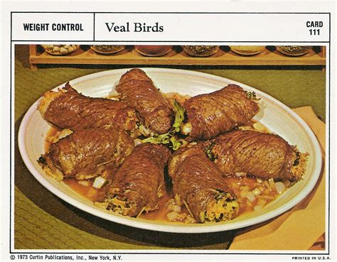 veal birds vintage recipe cards