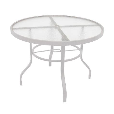 White Patio Dining Table Marco Island 42 In White Acrylic Top Commercial Metal