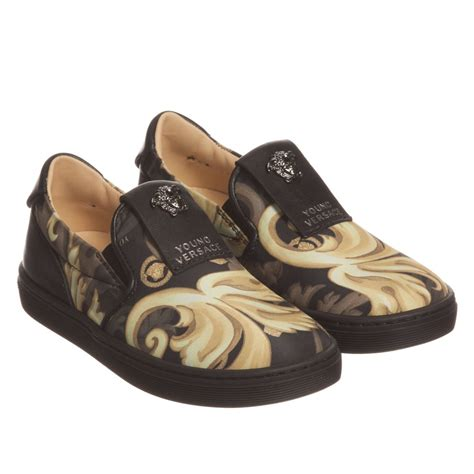 versace black gold baroque leather slip on shoes