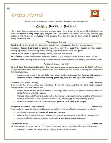 exle chef resume professional chef resume exle professional resume