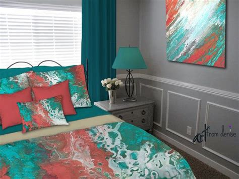 coral and teal bedroom unique artisan bedding for your teal and coral bedroom decor featuring abstract