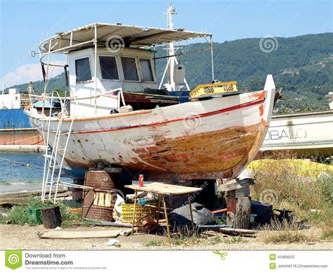 tow boat on dry dock dry dock skiathos greece editorial stock photo image
