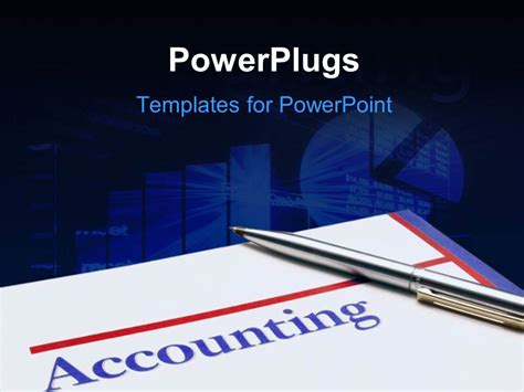 powerpoint template silver pen laying on accounting sheet