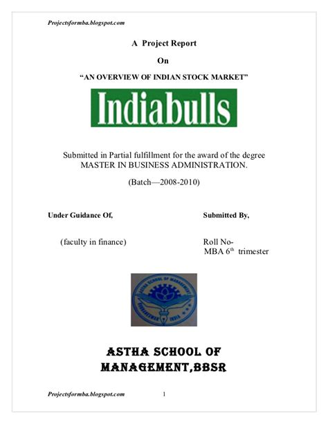 Marketing Mba Overview by A Project Report On Overview Of Indian Stock Market