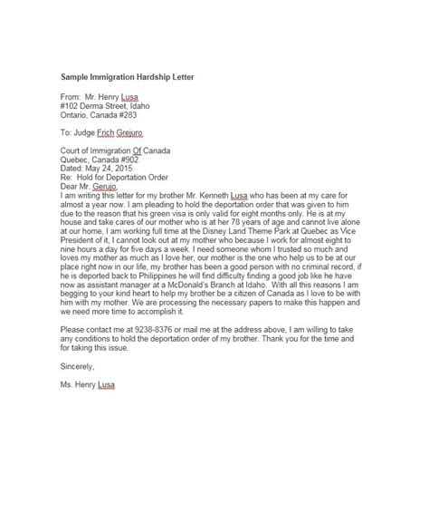 Hardship Letter Exle For Immigration Exles Of Hardship Letters From Family Member For Immigration Articleezinedirectory
