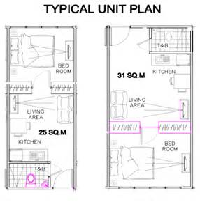 Floor plan for 25 square meters and 31 square meters 1 bedroom