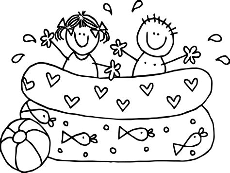coloring page of boy and girl playing summer kids boy girl playing pool coloring page
