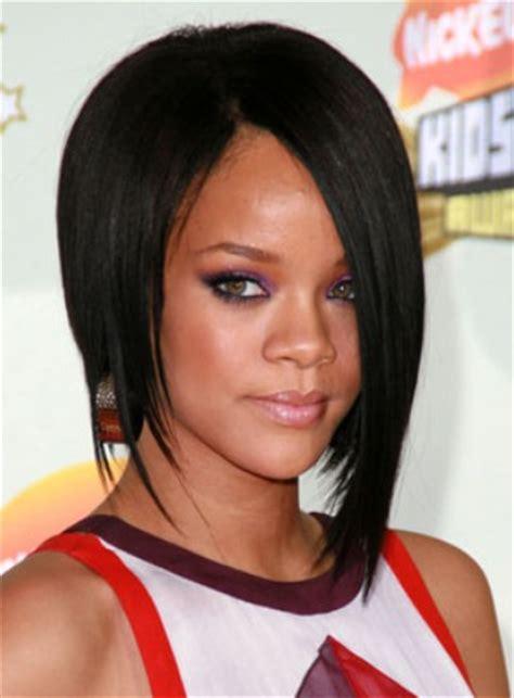 rihanna short black asymmetric bob haircut  black women