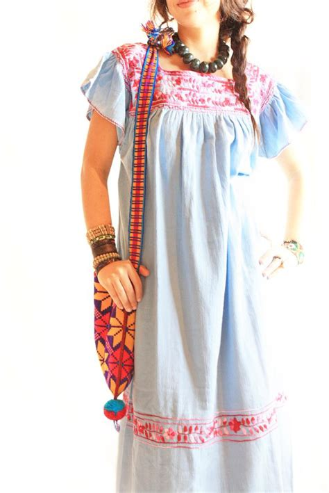 Aida Maxi Soft Pink handmade mexican embroidered dresses and vintage treasures