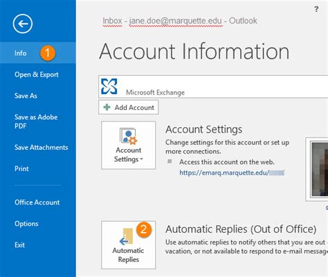 Out Of Office In Outlook 2013 by Setup Quot Out Of Office Quot Replies In Outlook 2003 2007 2010