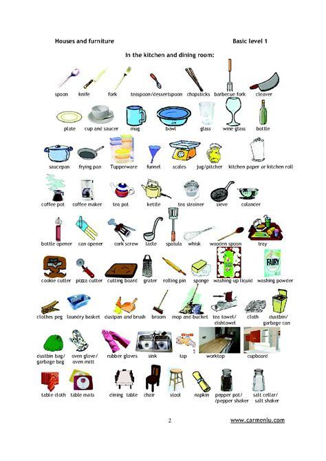 vocabulaire ustensiles de cuisine mobilier table ustensile de cuisine en anglais