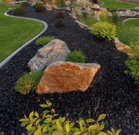 black river rock landscaping garden yard and exterior