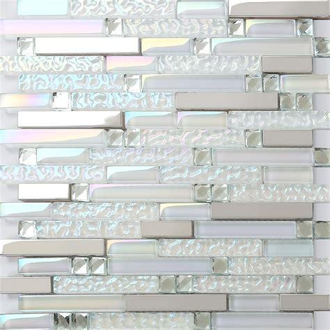 glass mosaic backsplash iridescent glass metal stainless steel mosaic tile