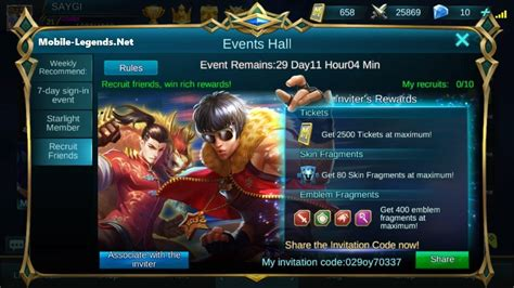 mobile legends redemption code recruit friends win rich rewards 2019 mobile legends