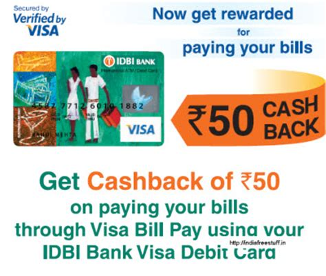 Can You Pay Bills Online With A Visa Gift Card - get rs 50 cashback when you pay bill through idbi visa debit card