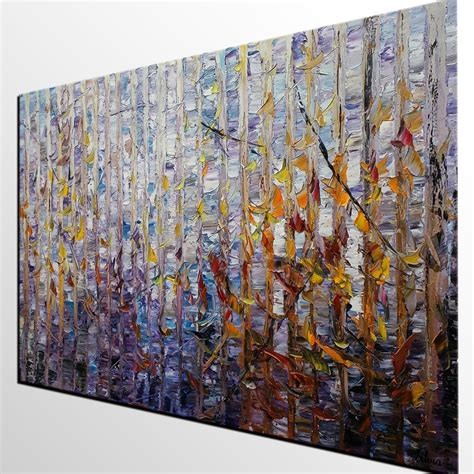 tree modern canvas art wall decor landscape oil painting abstract painting birch tree art original painting oil