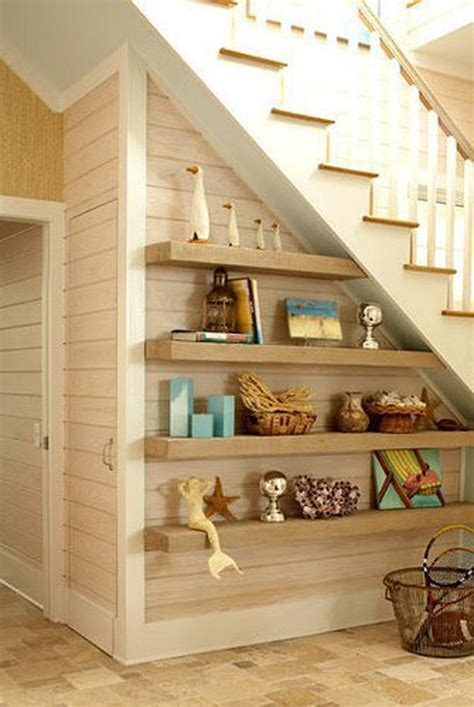 floating shelves  stairs homemydesign