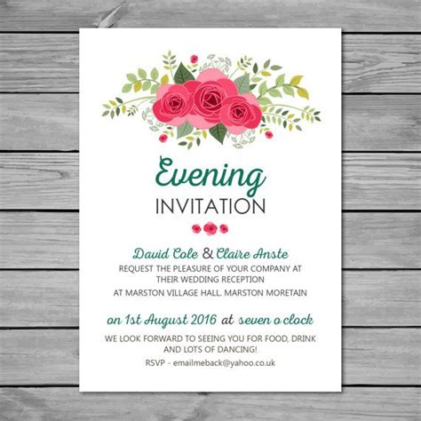 templates for wedding evening invites diy printable wedding reception invitation a6 105mm x