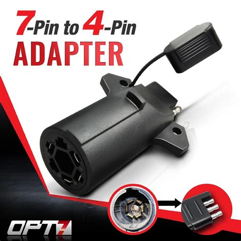 7 way to 4 way flat pin adapter for trailer tow