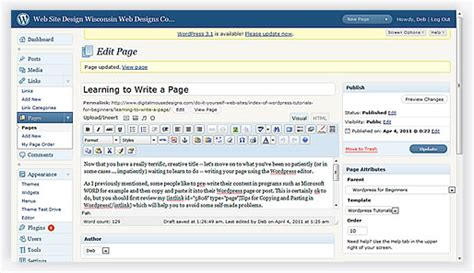 wordpress theme layout editor writing a page or post in wordpress learning to use the