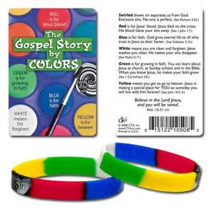 christian colors gospel silicone bracelet with gospel story by colours card